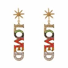 Colorful Fashion Cute Shiny Imitation Diamonds Sunflower LOVE Earrings Jewelry For Women