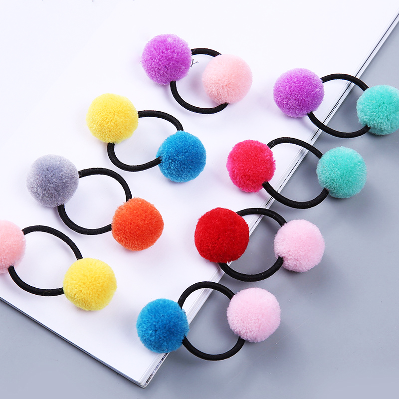 New 1PC Cute Little Girls' Pompom Hair Ties Double Pom Elastic Hair Band Hair Ropes Hair Accessories For Kids Girls