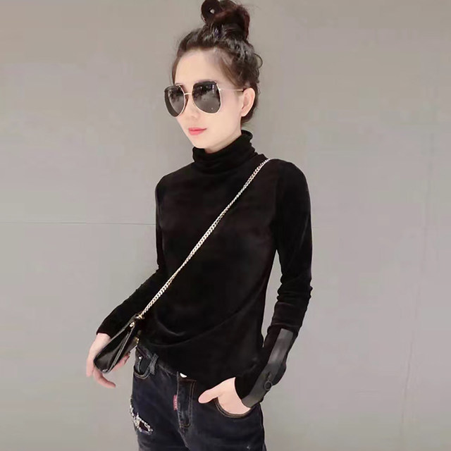 2018 Woman Velvet Warm Bottoming Half Turtleneck Pullover Sweaters New Fashion Fall Korean Long Sleeve Pullover Sweater 19