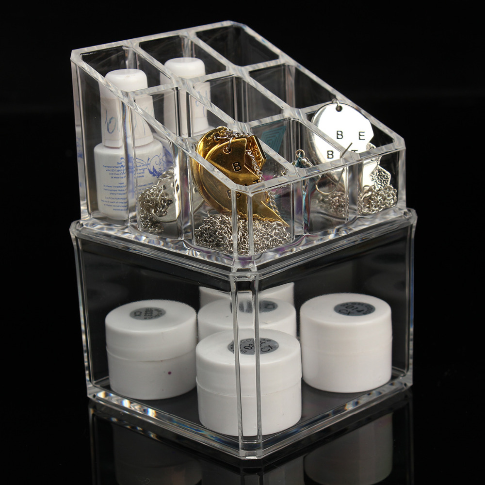 Crystal Make Up Cosmetic Container Storage Case Box Container Acrylic  Bathroom Organizer Jewelry Makeup Organizer Case