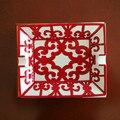 High-end de Luxo Gadgets Chinês Padrão Vermelho Dois Titular Charuto Cinzeiro de Cerâmica W/Caixa de Presente Original