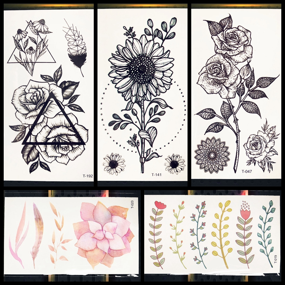 Black Temporary Tattoo Sunflower Leaves Rose Henna Tattoo For Girl Women Tattos Body Chest Hands Ankle Art Water Transfer Tattoo ...