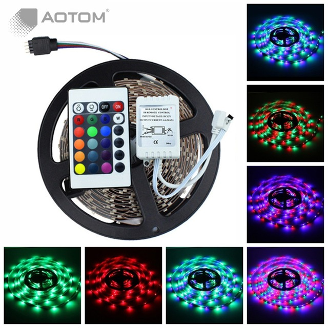 1pc Free Shipping 5M SMD 3528 RGB strip 60led/m LED Fiexble NON-Waterproof light +24key IR remote controller+IR Receiver