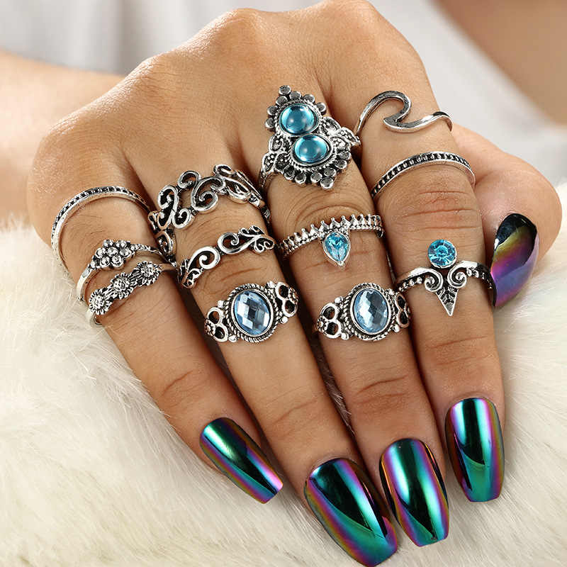 10 Pcs/Set Bohemian Rings Set For Women Vintage Crystal Finger Charming Ring Beach Party Knuckle Rings Jewelry Gift Wholesale
