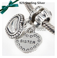 1 1 Legal Copy 925 Sterling Sister Charm With Heart Accessorie Bead Fits For Bracelet Necklace