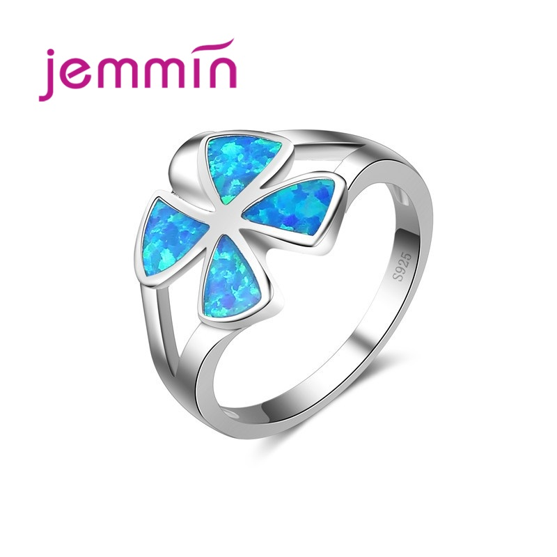 2020 Unique Design Women Blue Opal Rings For Wedding Fine Jewelry 925 Sterling Silver Engagement Proposal Ring For Lady