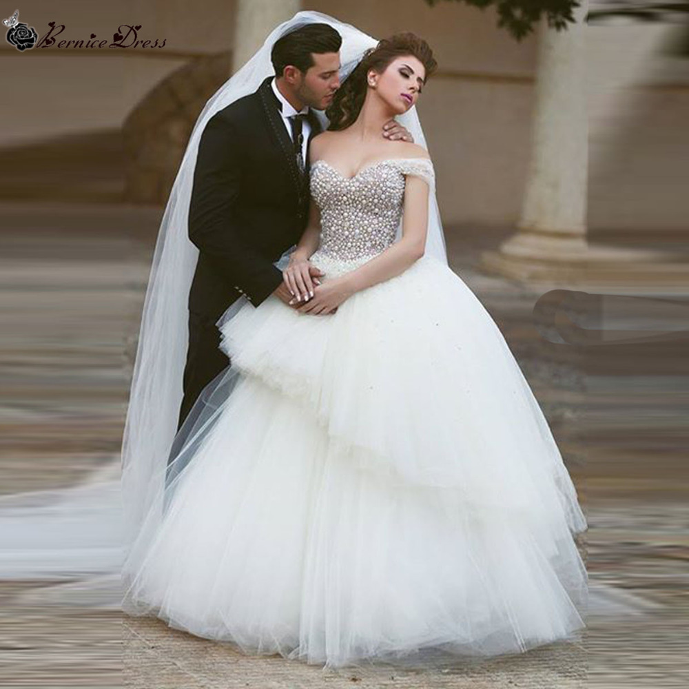 Wedding Gown Sale Online: Vestidos De Novia Ball Gown Princess Pearl Crystal Bodice