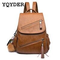 Vintage Tassel Leather Backpack Women School Bags For Teenager Girl Double Zipper Bagpack Female Designer Travel
