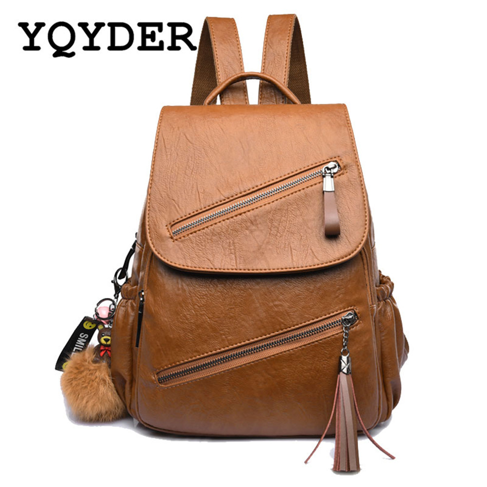 Vintage Tassel Leather Backpack Women School Bags for Teenager Girl Double Zipper Bagpack Female Designer Travel Bag Mochilas 2017 women leather backpack designer preppy style school bags for teenagers girl s travel bag vintage backpacks mochilas escolar