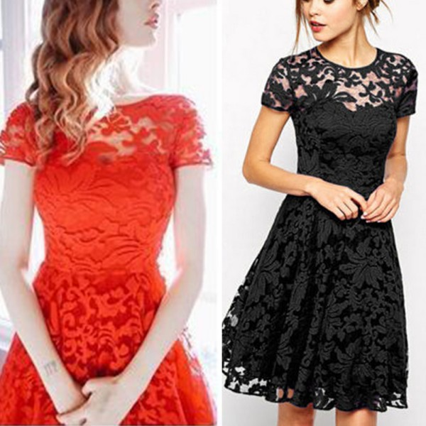 Aliexpress.com : Buy Fashion Fashion Women Floral Lace Dress Short ...