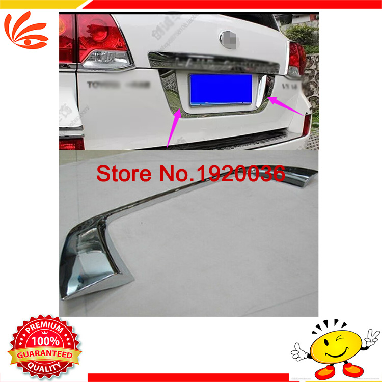 Car styling Chromerear license frame cover trim Car rear trunk trim under tail door stickers For 2013 LAND CRUISER FJ200  high quality car styling cover detector abs chromium tail back rear license frame plate trim strips 1pcs for su6aru outback 2015