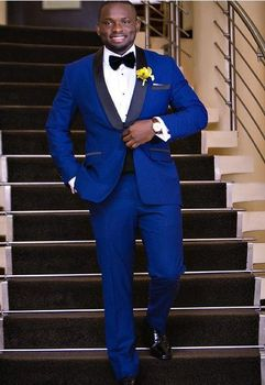 New Arrivals Royal Blue Mens Suits Groom Tuxedos Groomsmen Wedding Party Dinner Best Man Suits (Jacket+Pants+Bow Tie) W:70