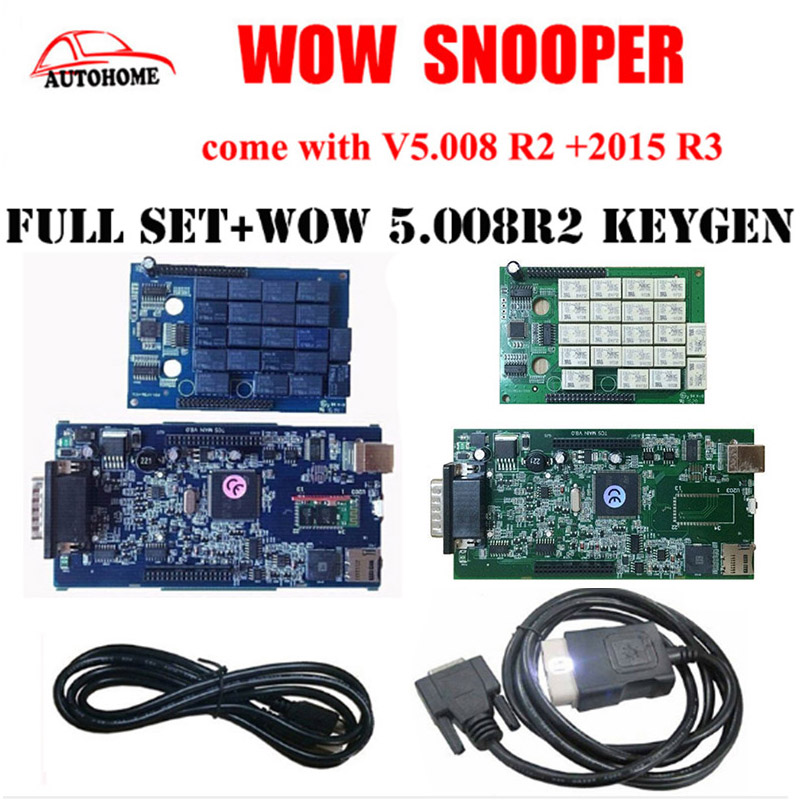 2pcs/lot WoW SNOOPER Nec relays with  without  bluetooth V5.008 R2 + 2015 R3 software+wow keygen TCS pro trucks diagnostic tool