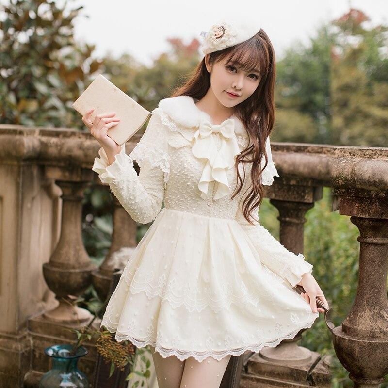 Princess sweet lolita dress Candy rain culture knitting dress autumn and winter women long sleeves sweet and thin C22CD7231 knitting