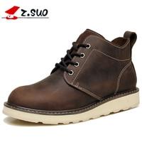 Z. Suo/зимние мужские ботинки из коровьей кожи; мужские ботильоны на шнуровке из натуральной кожи коричневого цвета на резиновой подошве; мягк...