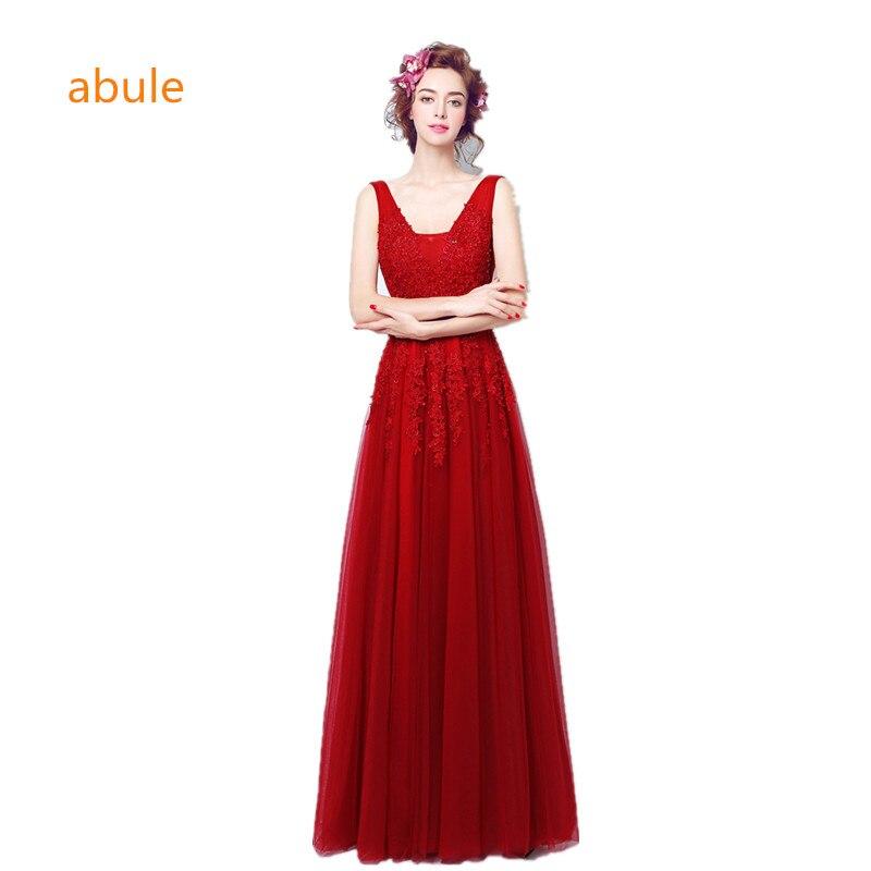 Abule 2017 escote en v vestido de novia de encaje de cola de pescado rojo banda