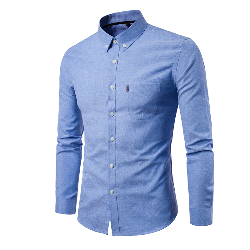 New 2019 Men's Oxford Shirt Autumn Casual Solid Color Men Long Sleeve Shirt Cotton Slim Plus Size White Pocket Men Clothing 5XL