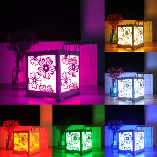 Remote Control RGB LED White Art Light Cube Shaped Desk Lamp Night ...