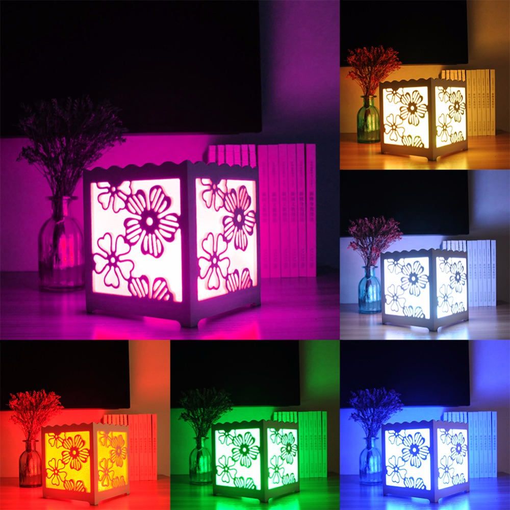 Com buy 10cm cube decorative battery operated rgb led table lamps - Remote Control Rgb Led White Art Light Cube Shaped Desk Lamp Night Light For Bedroom Living