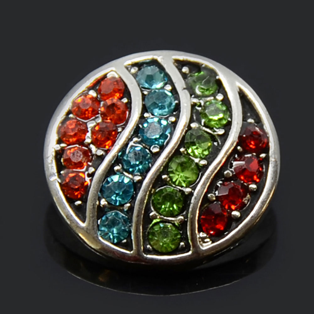Colorful Rainbow Style Rhinestone Metal Snap Button For DIY Jewelry Making