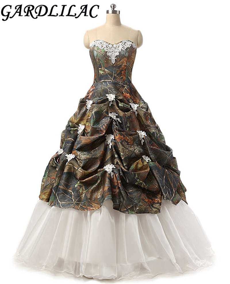 Gardlilac Sweetheart ball Gown Camo Wedding Dress Off the shoulder ...