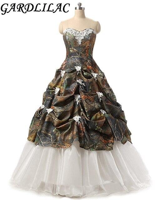 Gardlilac Sweetheart ball Gown Camo Wedding Dress Off the shoulder ...