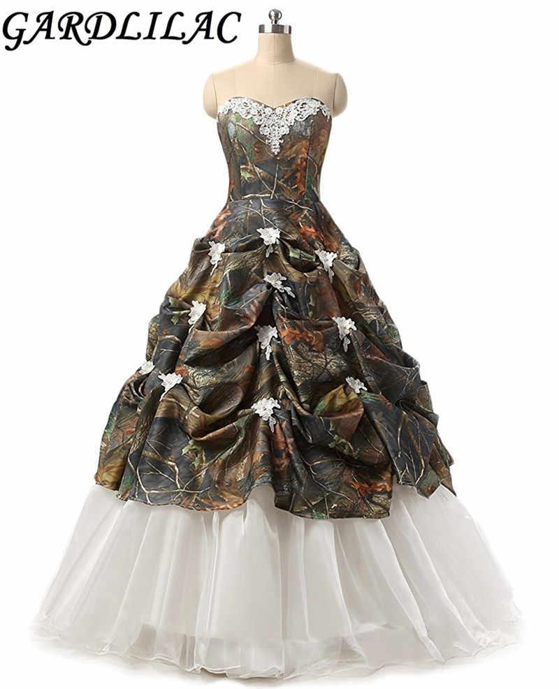 Gardlilac Sweetheart ball Gown Camo Wedding Dress Off the shoulder Applique  Wedding Dress for Bride
