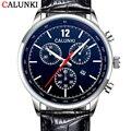 Top brand calunki 2016 nuevos relojes de los hombres correa de cuero reloj con calendario completo reloj de cuarzo de moda a prueba de agua