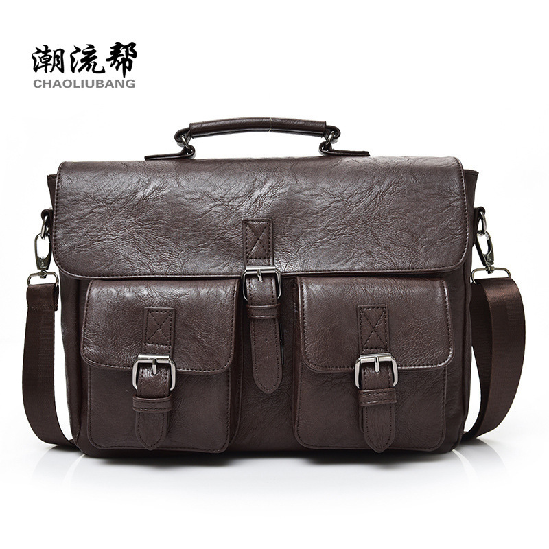 New Men Business Bags Men Soft Briefcase Bags Man Bags for Office 2017 Male Handbag Cross Body Shoulder Leather Handbag Black