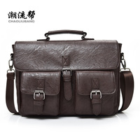 New Men Business Bags Men Soft Briefcase Bags Man Bags for Office 2017 Male Handbag Cross Body Shoulder Leather Handbag Black