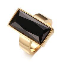 Bagues rectangulaires en acier inoxydable pour femmes, bijoux en cristal, couleur or, verre noir, à la mode, cadeau pour meilleure amie