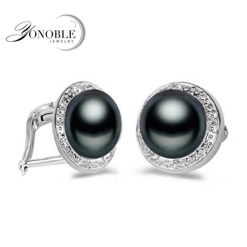 Auksiniai auskarai su gėlavandeniais gėrimais moterims, vestuviniai natūralūs juodieji perlų auskarai 925 sterlingas sidabro papuošalai mergaitė geriausia dovana balta