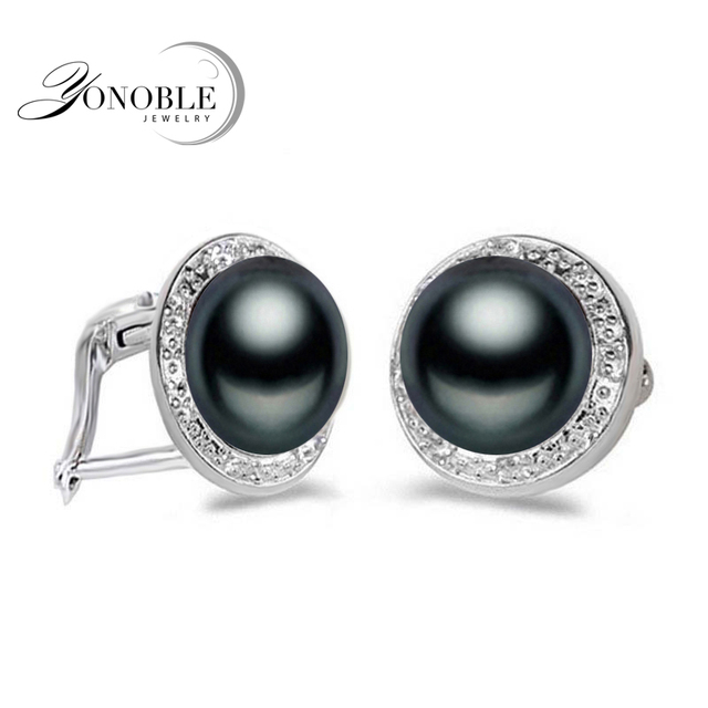 Genuine Freshwater Pearl Earrings Women Wedding Natural Black 925 Sterling Silver Jewelry