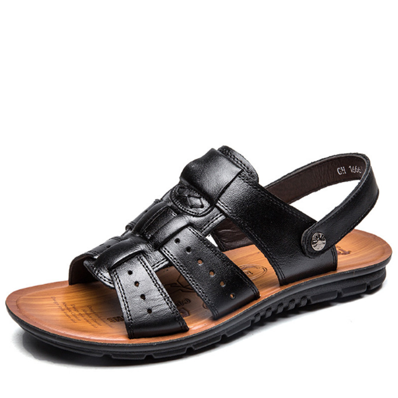 Tangnest Cow Leather Men Gladiators Summer New Comfortable Casual Sandals Slip On Beach Slides Men Flats Size 38-47 XML246