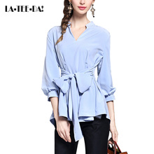 La-Tee-Da!2017 New Solid Chiffon Blouses Women V-Neck Waist Bow Shirts Lady Fashion Classic Lantern Slim OL Office Elegant Lady