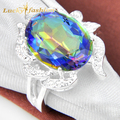 New 2017 Mystic Rainbow Oval Crystal  Rings For Women Silver Plated Engagement Semi-precious Jewelry