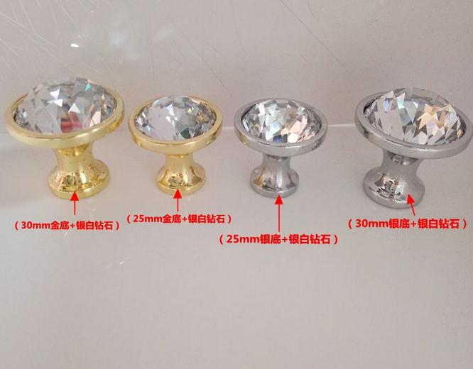28&33mm glass Diamond Crystal Glass Alloy Door Drawer Cabinet Wardrobe Pull Handle Knobs Drop Shipping Wholesale