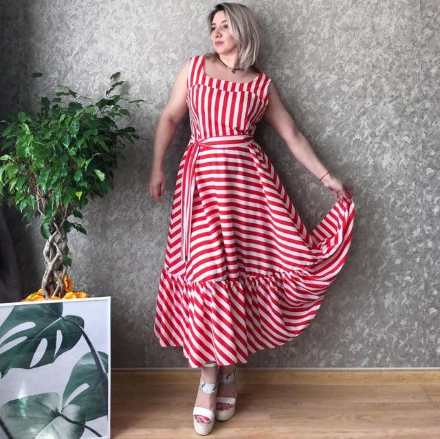 2019 nouvelle robe d'été femmes rayé o-cou sans manches bohème longue robe dames plage a-ligne robes