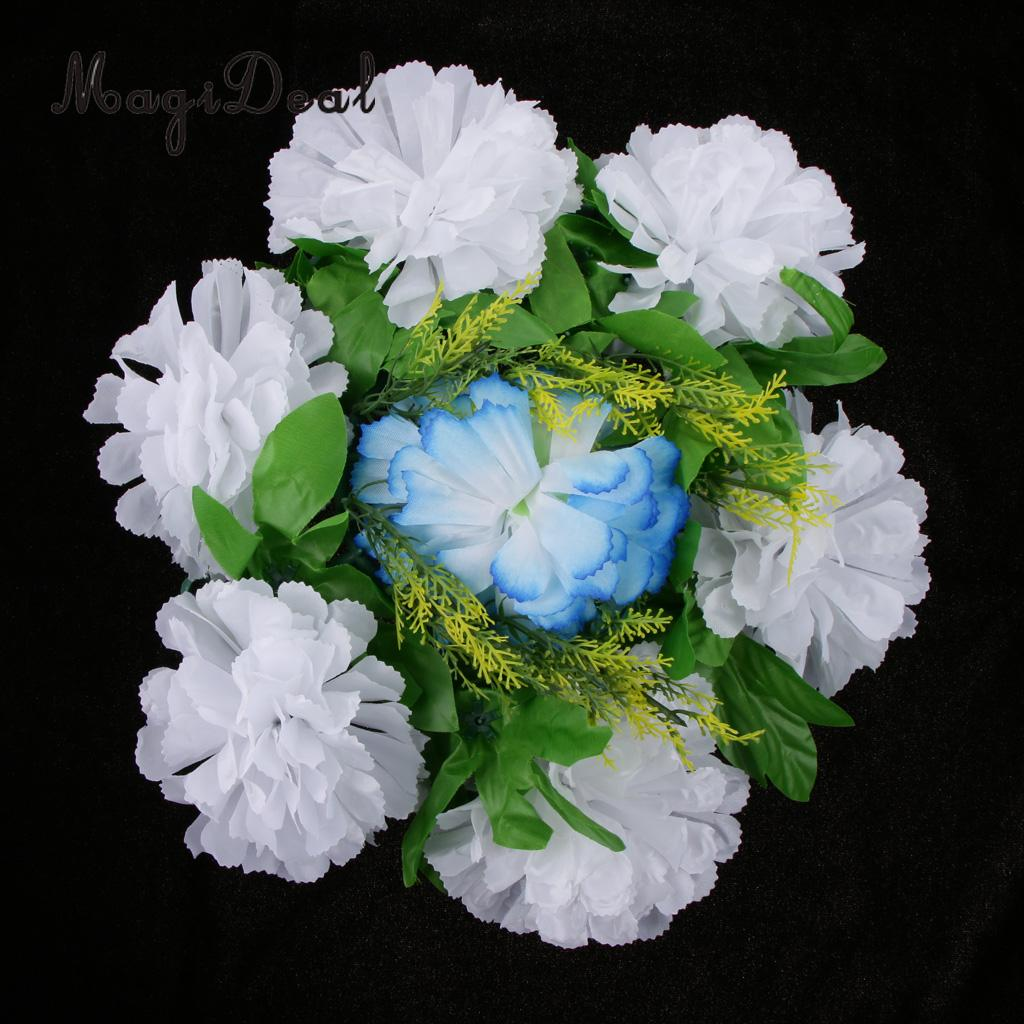 Magideal Chrysanthemum Silk Flower Funeral Memorial Grave Tribute