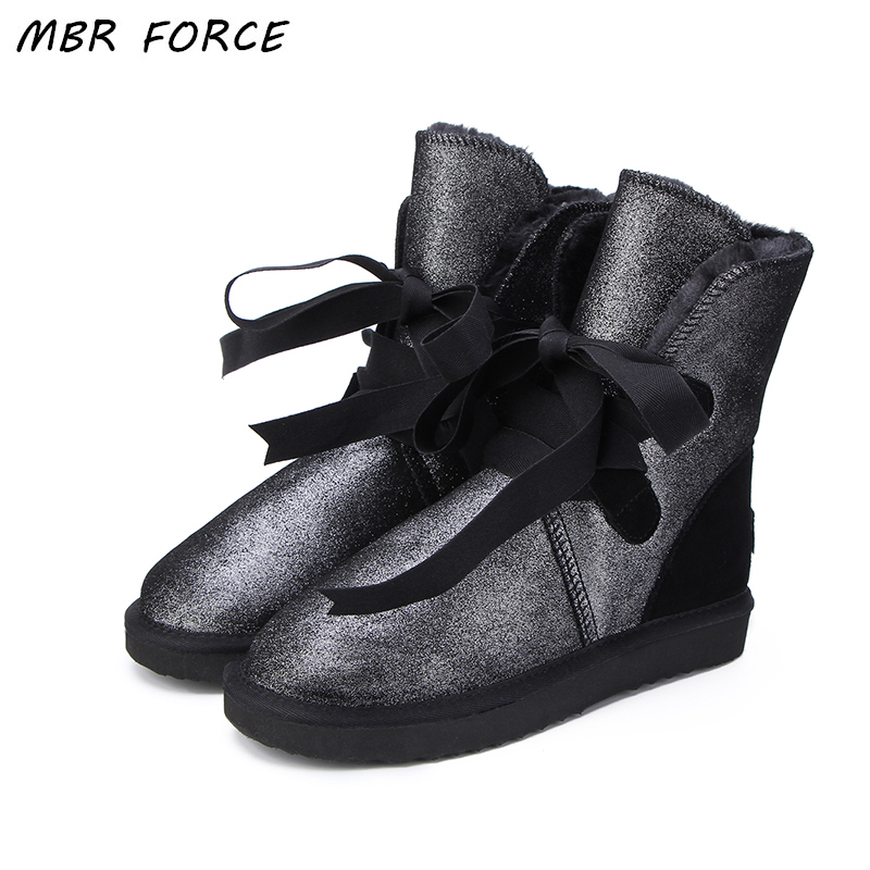 MBR FORCE Australia Classic Fashion Women Lace Up Snow Boots Genuine Cowhide Leather Winter Boots Fur Warm Women UG Boots