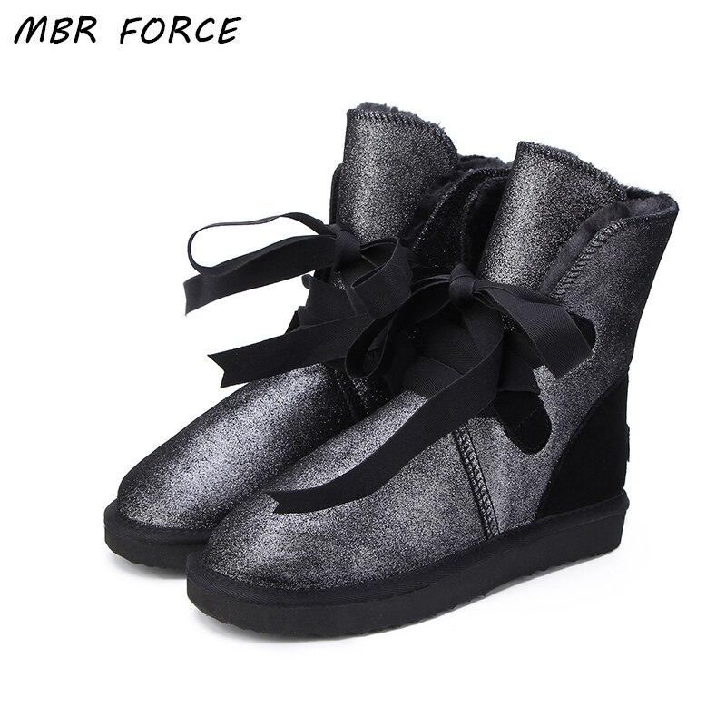 MBR FORCE Australie Mode Classique Femmes Lacent Neige Bottes Véritable peau de Vache En Cuir Bottes D'hiver De Fourrure Chaud Femmes Bottes