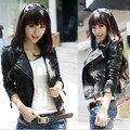 2017 Осень новый Корейский модели женский PU кожаная куртка женщин короткий параграф Тонкий мотоцикл clothing