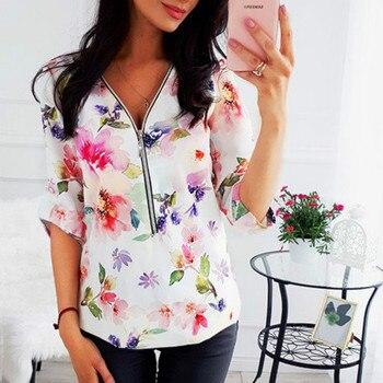 Women Tops Blouses 2019 Autumn Elegant Long Sleeve Print V-Neck Blouse Female Work Zipper Shirts Plus Size Tops 5XL Mujer Blusa 2