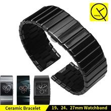 セラミック腕時計ブレスレットバタフライバックルストラップためラドーセラミカシリーズ男時計バンドセラミカR21347222 R21540742 19/24/27/35 ミリメートル