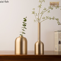 Brass Gold Vase Decoration Home Vases For Flowers Storage Container Organizer Cup Desk Flower Pots Crafts Flower arrangement