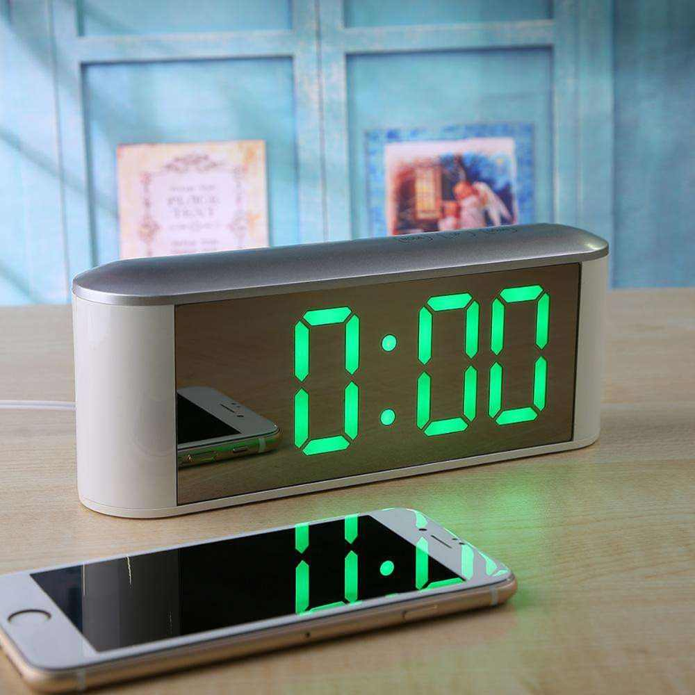 Настольные Цифровые Часы светодиодный дисплей температуры Повтор новый домашний светодиодный электронные часы зеркальные часы с термометром