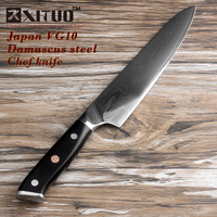 Quality Japan VG10 Damascus steel kitchen knife G10 handle + plum blossom best gift chef knife sharp Cleaver Santoku cook tool