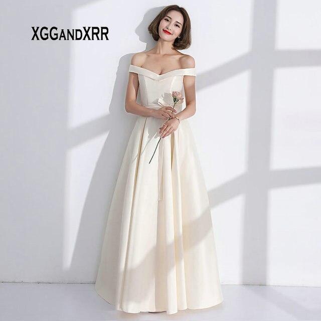 Satin Long Champagne Bridesmaid Dresses
