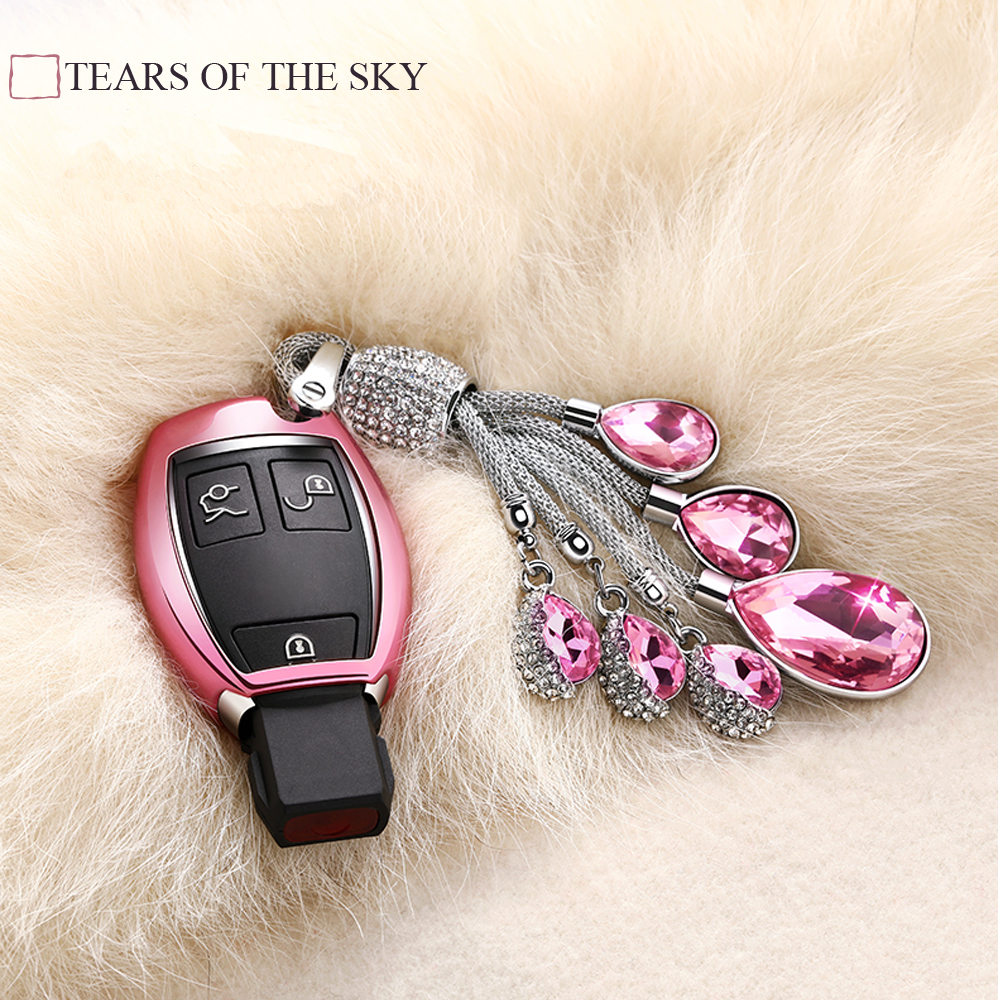 Key case TPU Soft cover shell For Mercedes Benz W203 W204 W211 CLK C180 E200 AMG C E S Class Artificial Crystal Pendant keychain