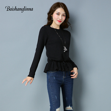 BAISHANGLINNA 2017 winter Women O-Neck Knitted Sweater Female Knitted Pullover Ladies all-match Basic Long Sleeve Shirt Clothing